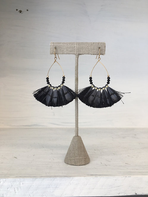 Black Feather Tear Earrings
