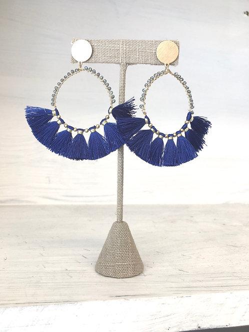 Royal Blue Circle Tassel Earrings