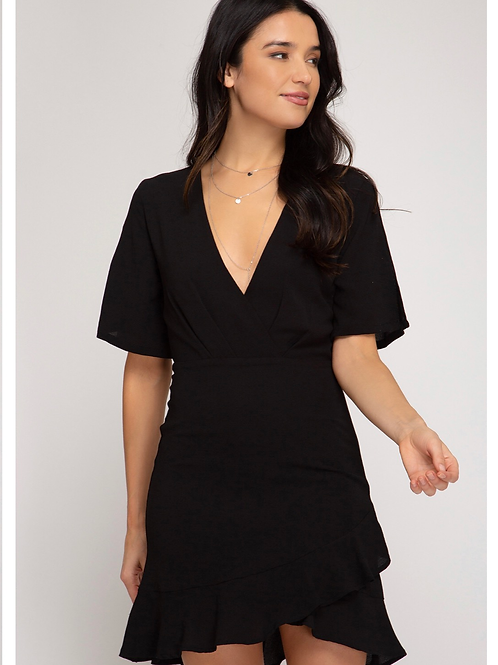 Black v neck ruffle dress