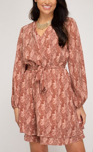 Rust Snake Print Dress