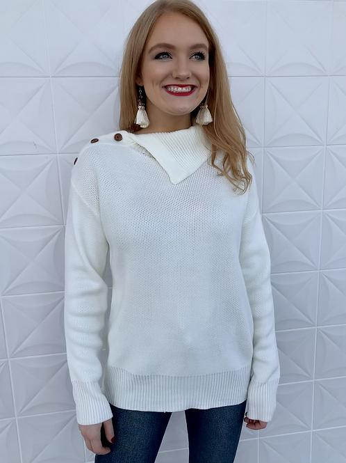 Collared Knit Button Sweater Cream