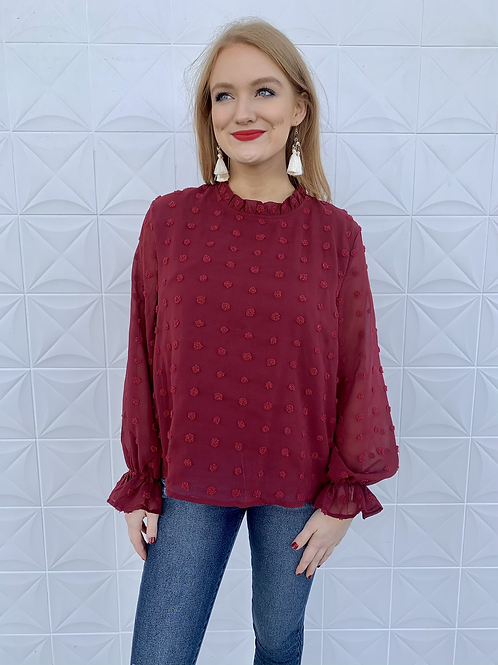Dotted Long Sleeve Blouse Wine
