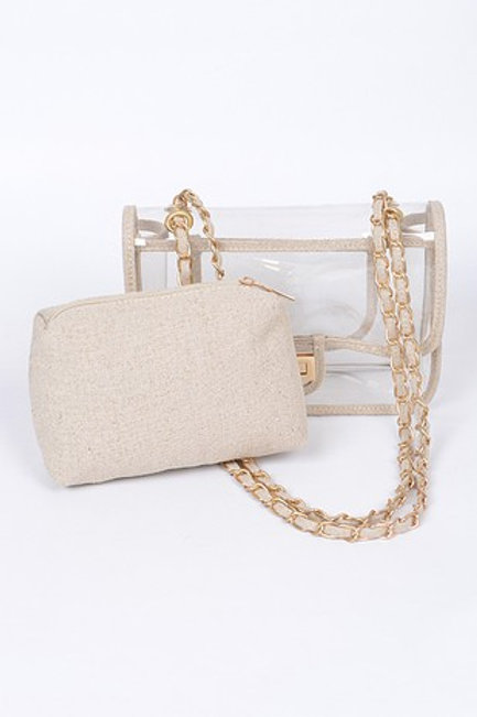 Clear Handbag with Knit Clutch