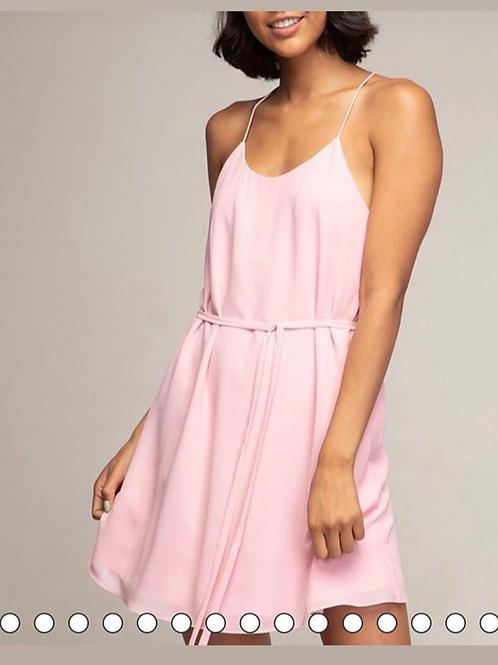 String dress w/ belt pink