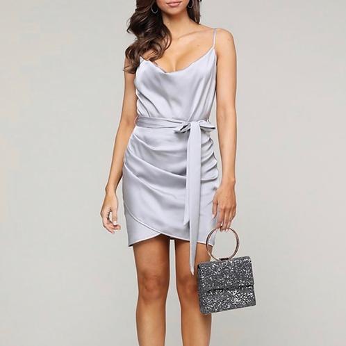 Silver satin cami dress