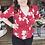 Thumbnail: Red floral peplum blouse