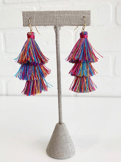 Multi-color Tiered Tassel Earrings