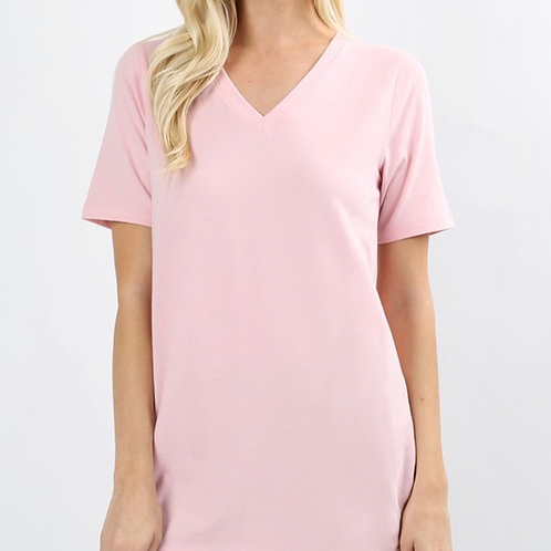 Short sleeve basic v neck pink