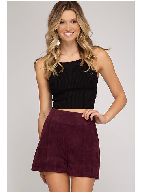 Plum Suede Shorts