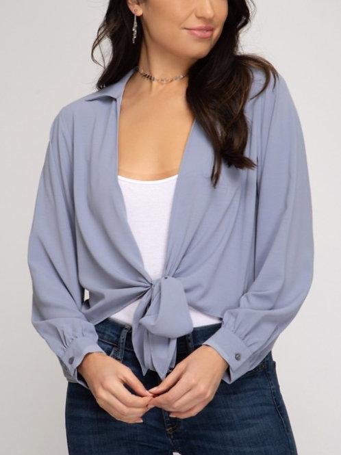 Slate Blue Tie Front Top