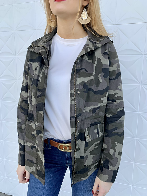 Camo Oversized Military Jacket Dark
