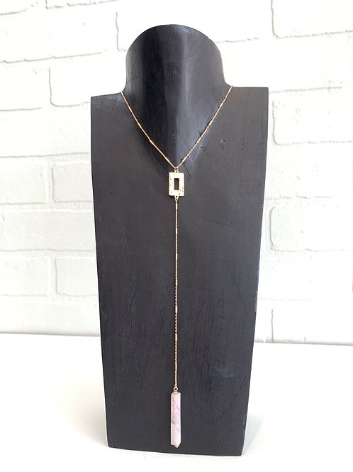 Stone Drop Chain Necklace