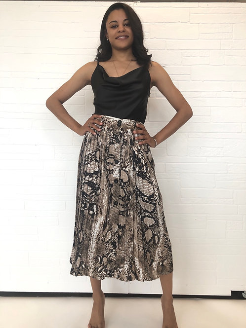 Snake pleated midi skirt