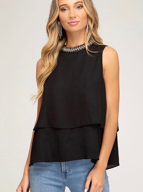 Black Jewel Neck Blouse