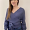 Thumbnail: Tie Front Wrap Sweater Stone Blue