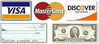 Visa, Mastercard, Discover, Check, Cash