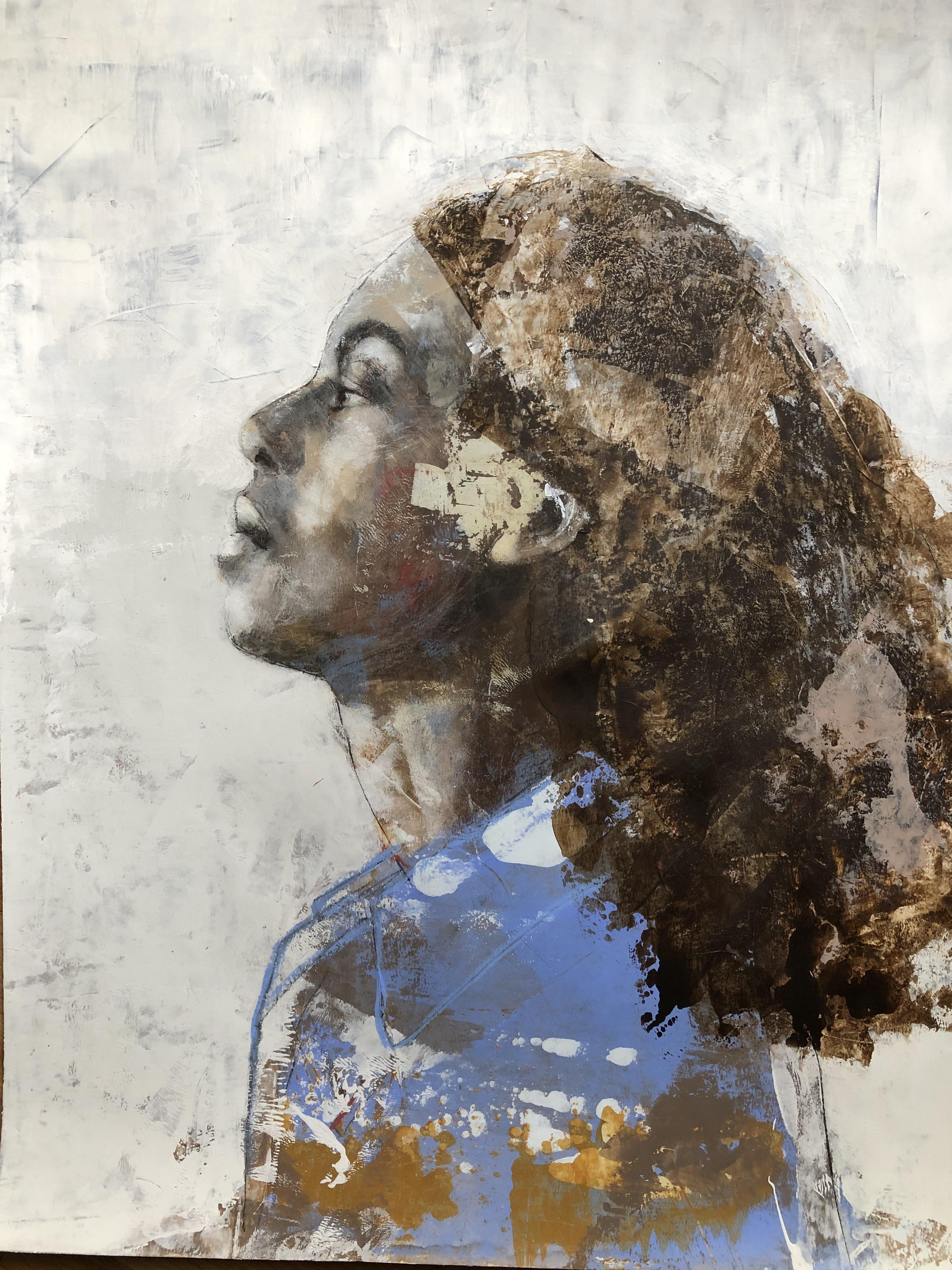 6) 65 cm x 50 com papier acrylique et pi