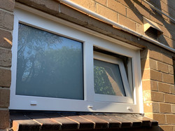Tropical White Tilt and Turn / Fixed window with white translucent laminated glass