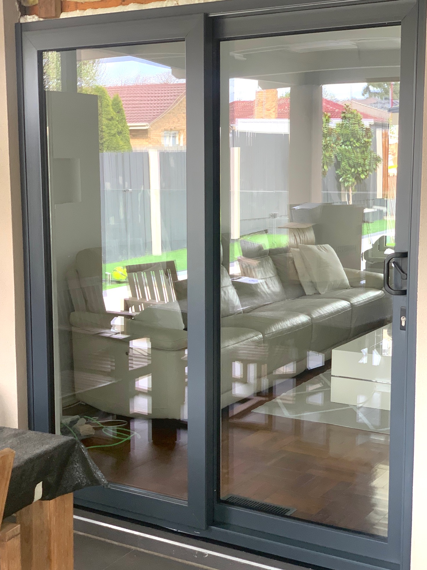 Tropical White/Anthracite Grey Sliding Door replacement in Melbourne, Asutralia