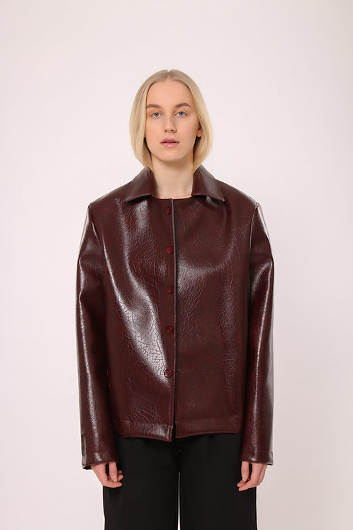 Faux crocodile leather jacket