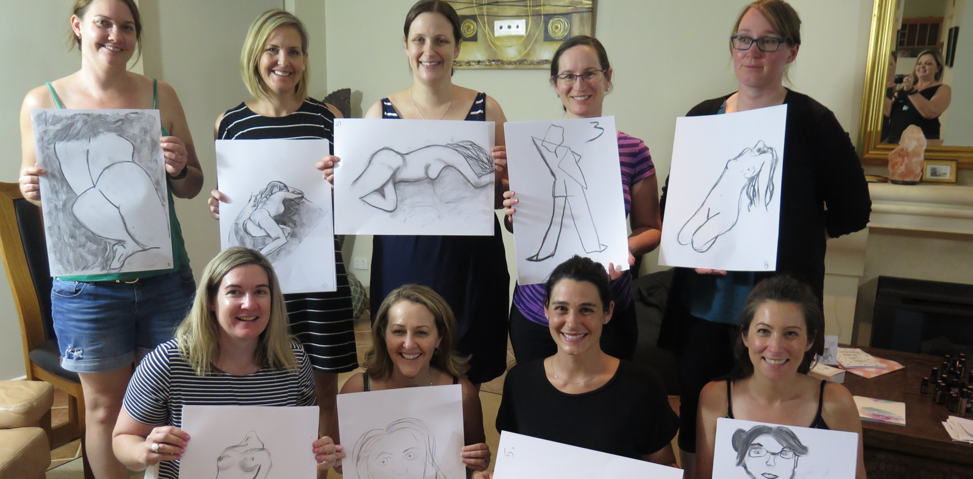 Group of new mums at The Conscious Mother with some of their favourite pieces from the day