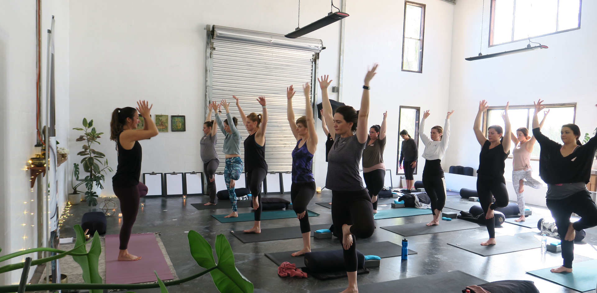 Leonie leading the yoga session before our Charcoal and Champagne workshop getting the ladies into the zone