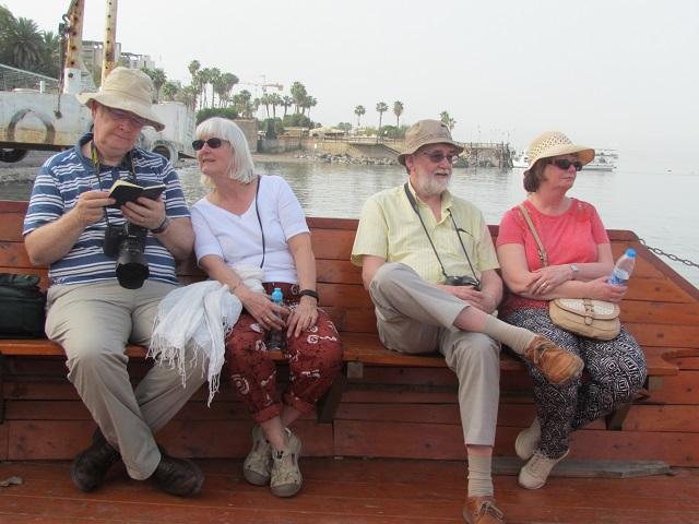 tiberias tourists on a boat