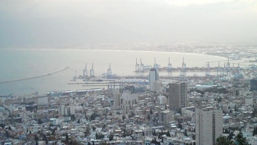Haifa Harbor in storm