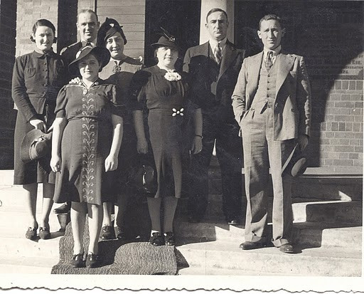 Three Gork brothers, Scholem, Yudel, Manny and their wives,Hetty, Fanny, Masha, Sonia: Cousin