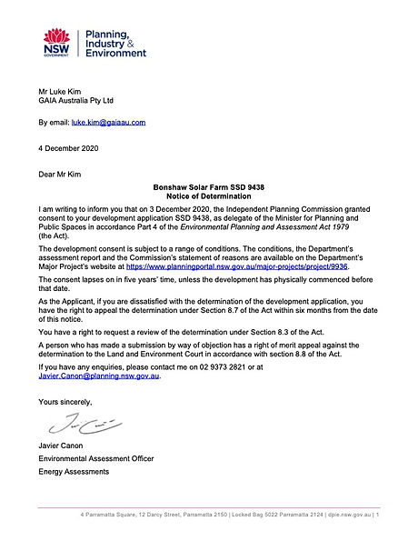 Notice Of Determination Letter To Applic