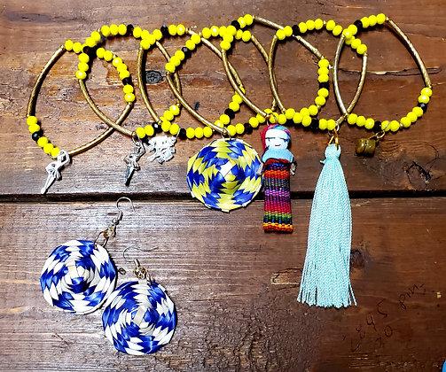7 pz bracelet&earrings