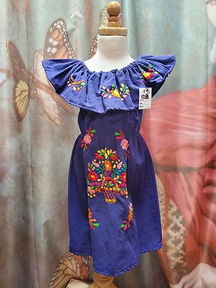 Off Shoulder Girl Dress/Embroidery