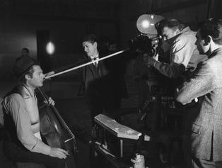 Marcello Mastroianni, Federico Fellini and Giuseppe Rotunno during the screen test for The Trip of G. Mastorna Also Called Fernet, a film that was never made, 1969