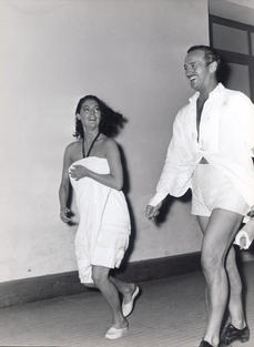 Ava Gardner and David Niven captured in the corridors of Cinecittà during the filming of The Little Hut, by Mark Robson Rome 1956