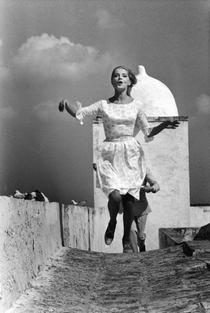 Virna Lisi on the set of Casanova 70 by Mario Monicelli, 1965