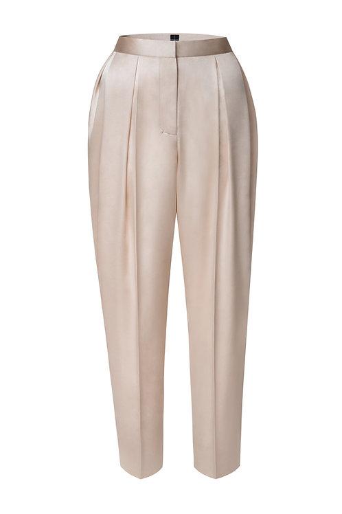 Saténové kalhoty se sklady v pase
