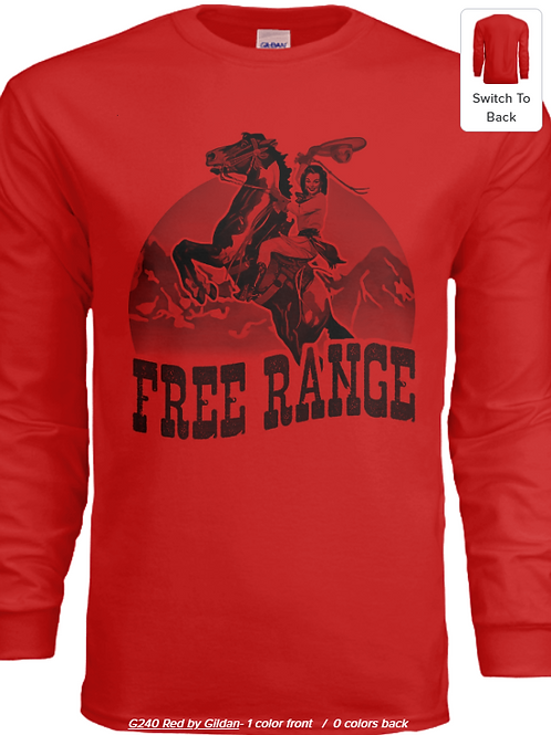 Free Range Cowgirl Graphic Long Sleeve - Solid Color