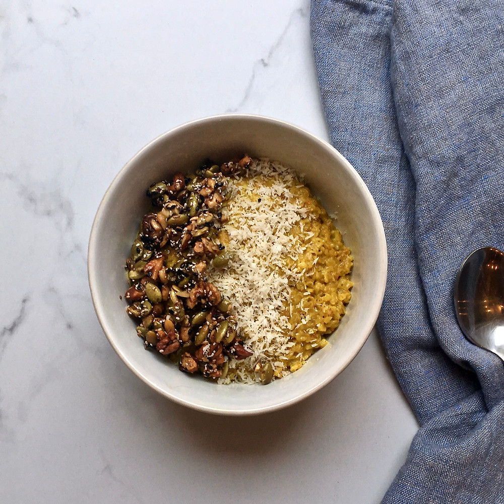 Turmeric Coconut Oats with Walnut Brittle