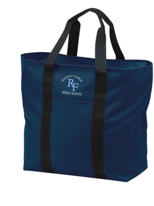 Embroidered Tote Bag Navy