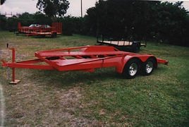 16' car trailer with open floor, dovetail, hidaway ramps.
