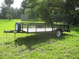 6x12 utility trailer with rear gate,16' mesh sides,3500 pound axle,flip jack,spare tire