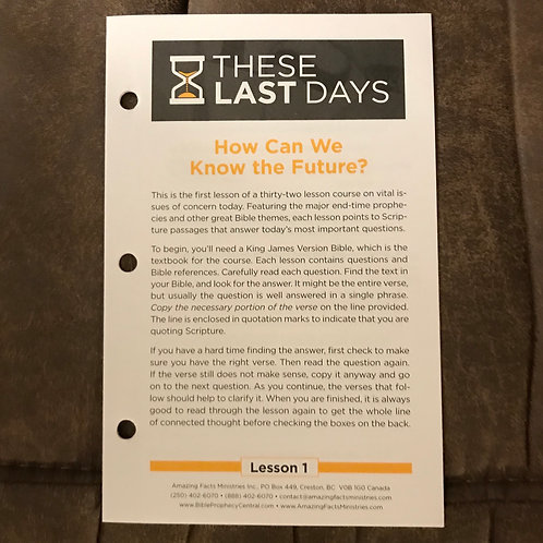 These Last Days Lesson #1  (Ten copies)