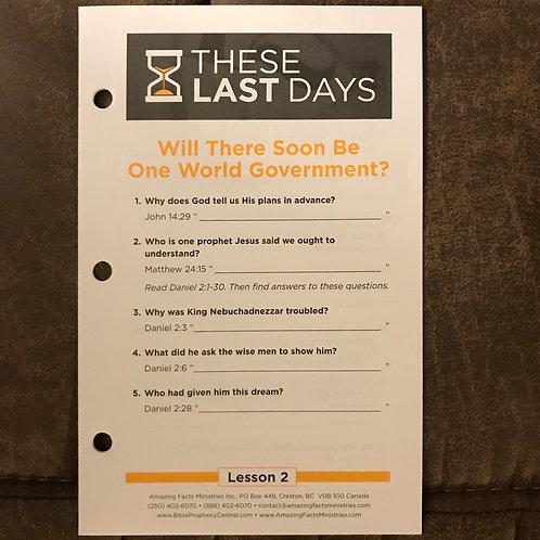 These Last Days Lesson #2 (Ten copies)