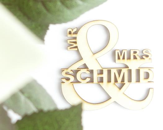Mr. & Mrs. Lasercut Schild
