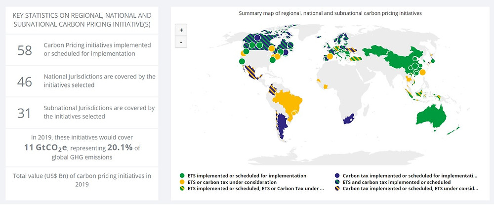 There are 58 Carbon Pricing initiatives implemented or scheduled for implementation, with 46 covering National Jurisdictions. SOURCE: World Bank
