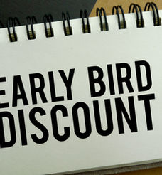 Early bird discount memo written on a no
