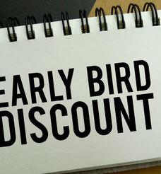 Early bird discount memo written on a no