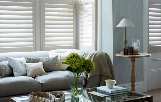 Cafe Style Living Room Shutters Pearl -