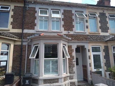 Café style bay window shutters in Cardiff