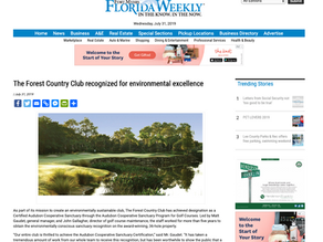 Florida Weekly - The Forest Country Club recognized for environmental excellence